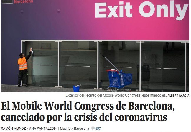El Mobile World Congress de Barcelona, cancelado por la crisis del coronavirus